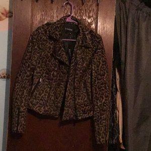 A cheetah print soft jacket
